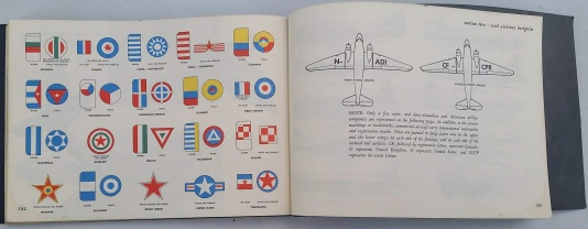 2 pages of the 1955 ground observers guide showing aircraft insignia